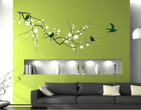 tree wall decal cherry blossom with birds - vinyl wall art custom