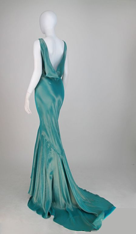 Galliano iridescent blue bias cut gown with train | Iridescent ...