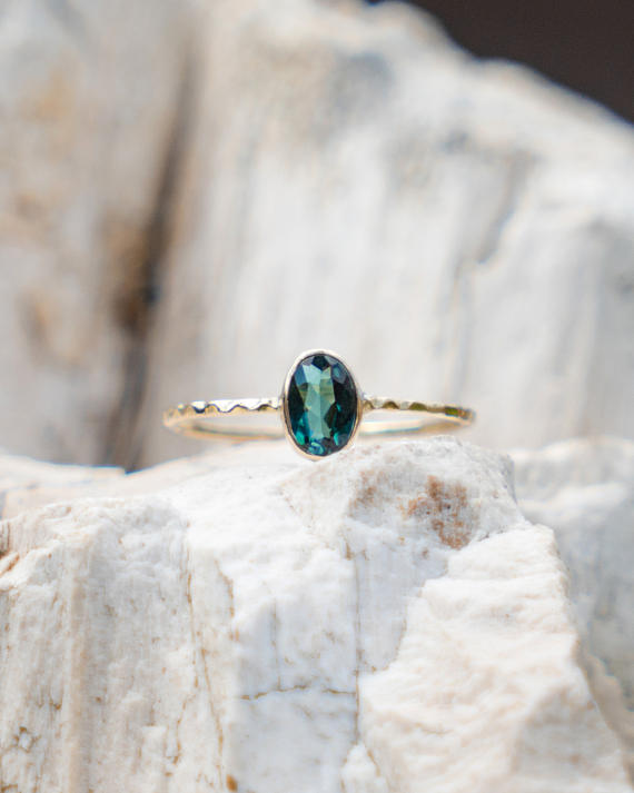 Blue Tourmaline gold ring, delicate jewelry gift for her with natural blue crystal