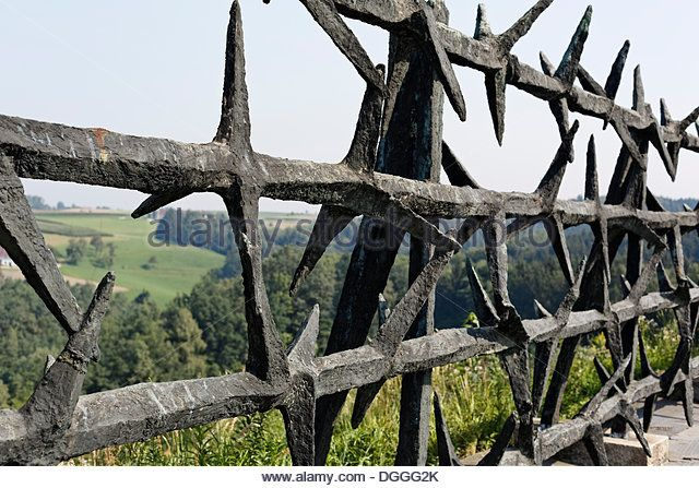 Barbed wire memorial in the Monument Park, Mauthausen Concentration ...