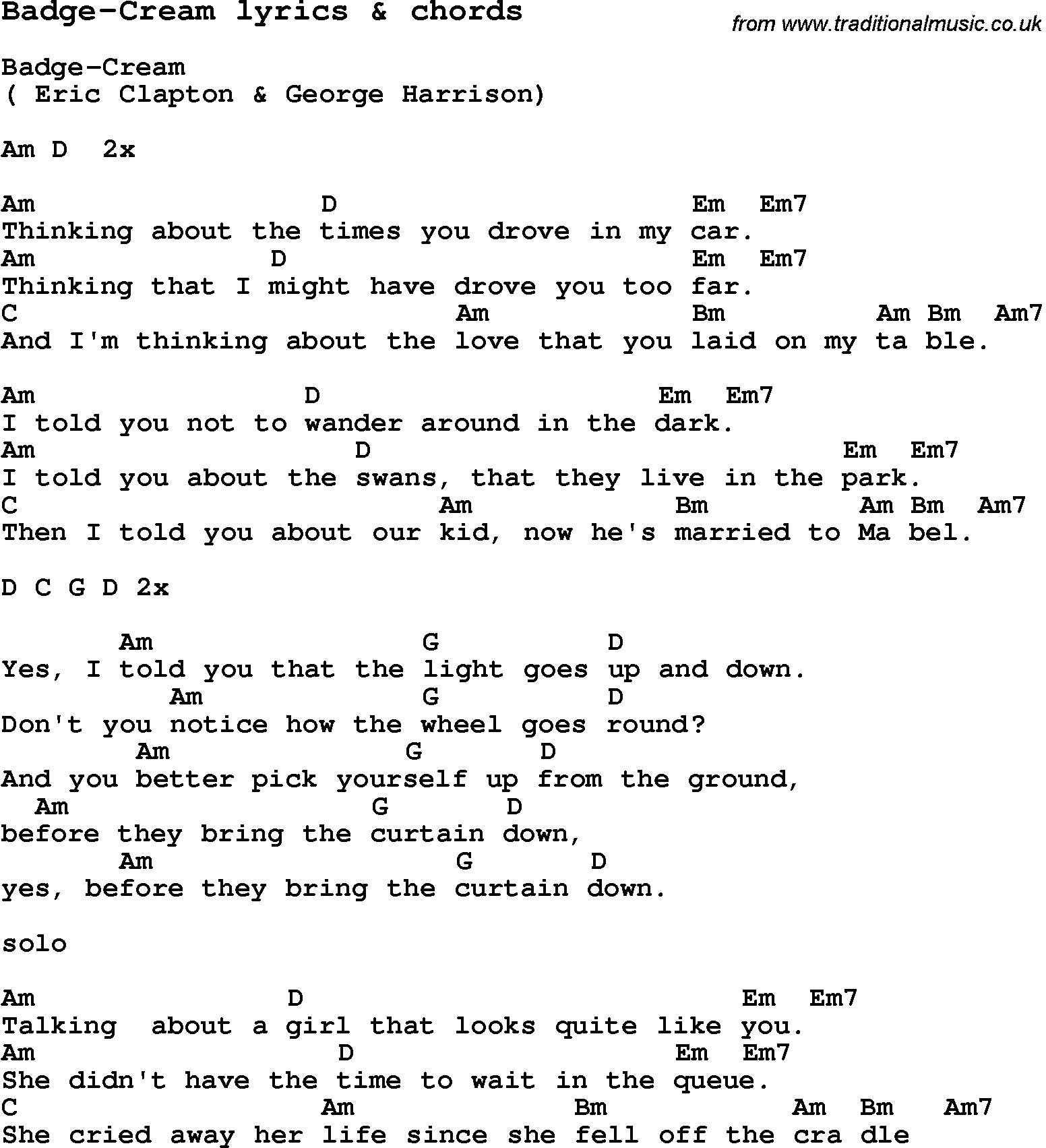 Badge Cream Chords Lyrics Lyrics And Chords Music Quotes Lyrics Lyrics