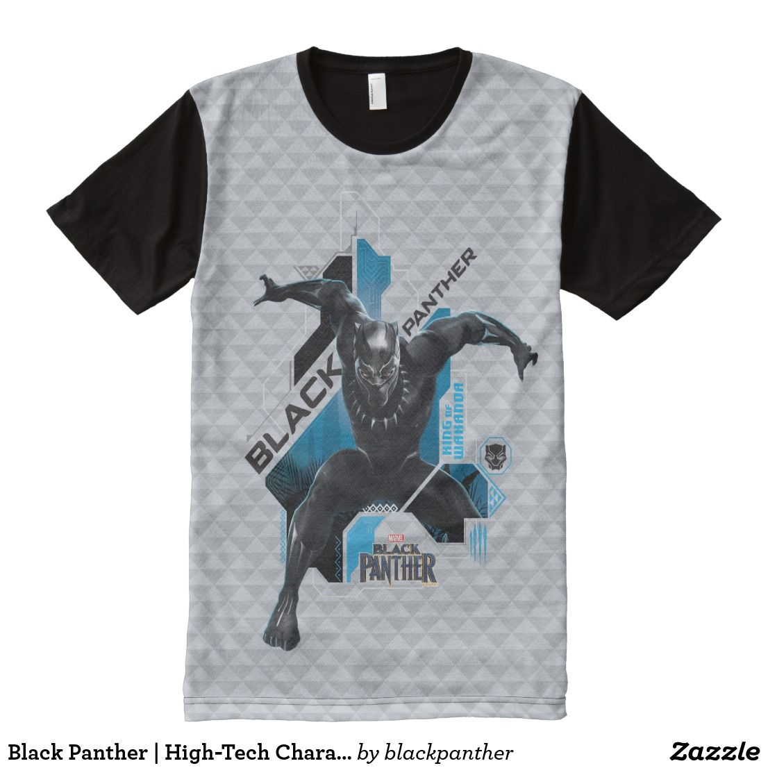 c45c26a0 #Black #Panther | High-Tech #Character Graphic All-Over-Print #T-Shirt  Black Panther crouches with arms outstreched in this high-tech graphic with  tribal ...