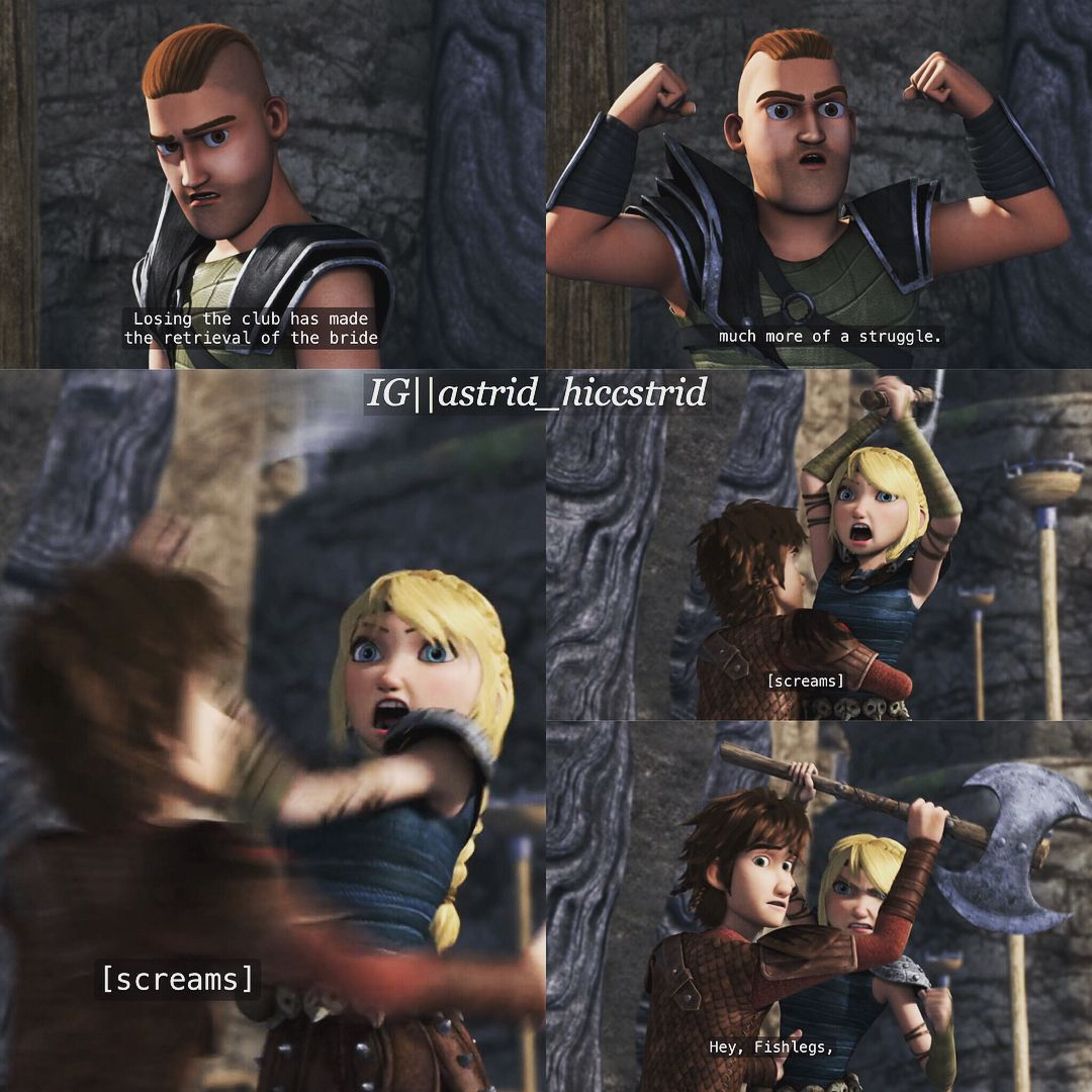 Hiccup stopping Astrid from savagely killing Throk with her