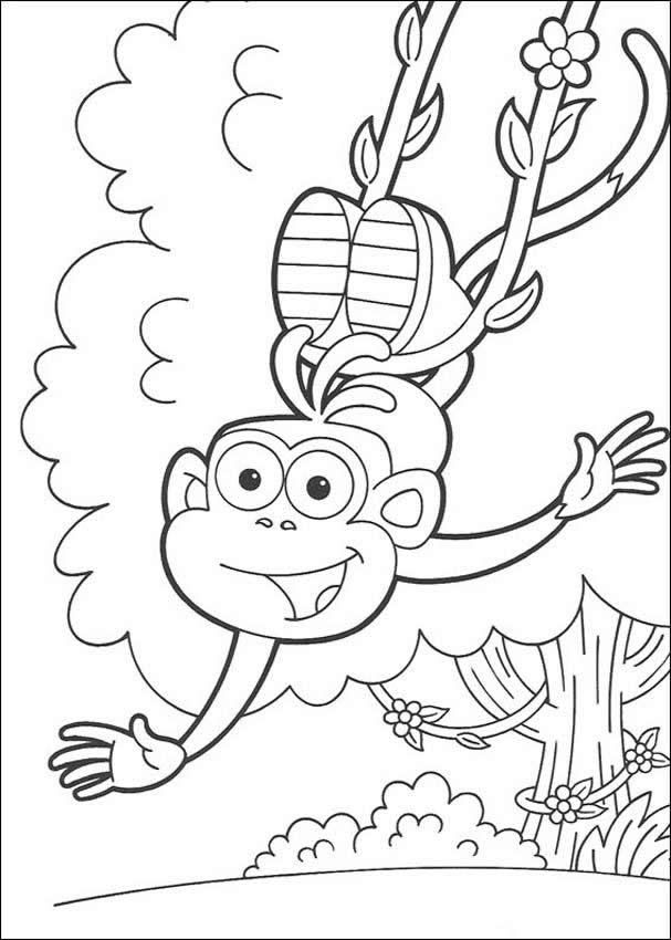 Dora The Explorer Coloring Pages Happy Boots The Monkey Monkey Coloring Pages Dora Coloring Coloring Pages