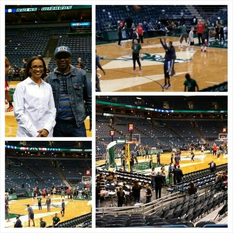 At the Bucks game.