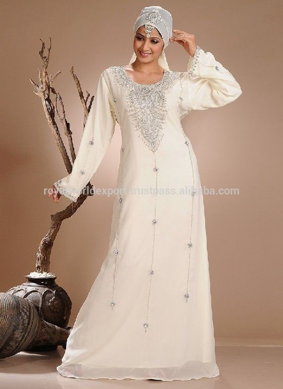 30b57b0204b Muslim Bridal Wear Moroccan Wedding Kaftans Gorgeous Abaya White Beaded  Work Chiffon Long Sleeve Muslim Evening Dress Kaftan