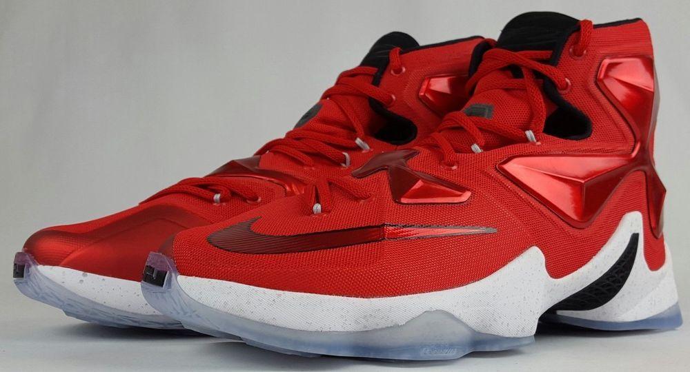 c75e91c4c42 Nike Lebron James XIII 13 University Red White Blk Orange Mens Sz 8.5 807219 -610  Nike  BasketballShoes