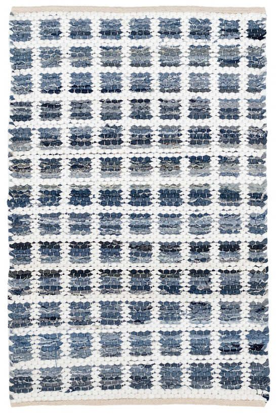 Denim Rag Squares Woven Cotton Rug Dash Albert Cotton Rag Rug Rugs Cotton Rug