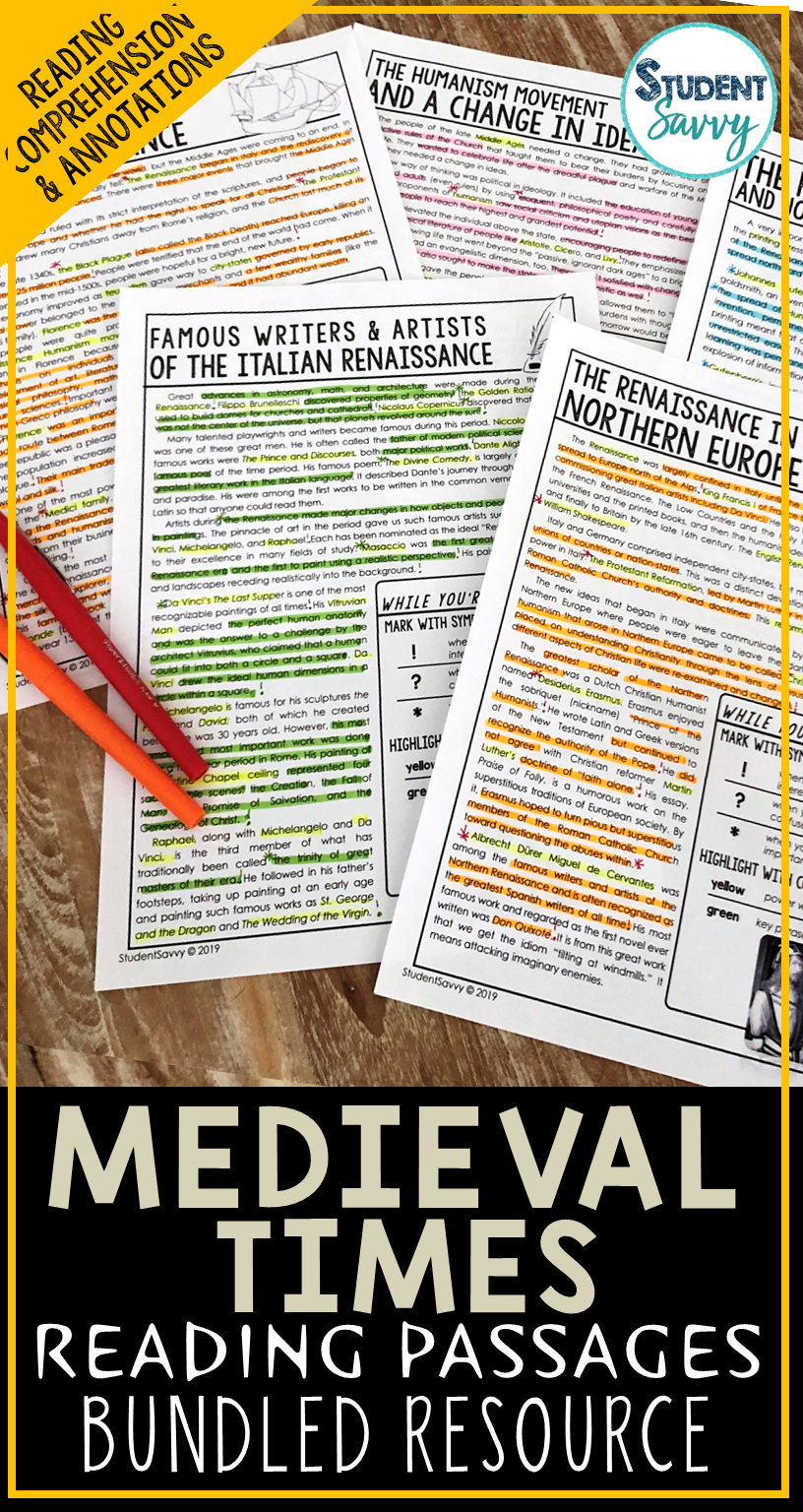Medieval Times Reading Comprehension Passages Worksheets Questions And Annotations Bundle Reading Passages Reading Comprehension Passages Teaching History [ 1536 x 816 Pixel ]