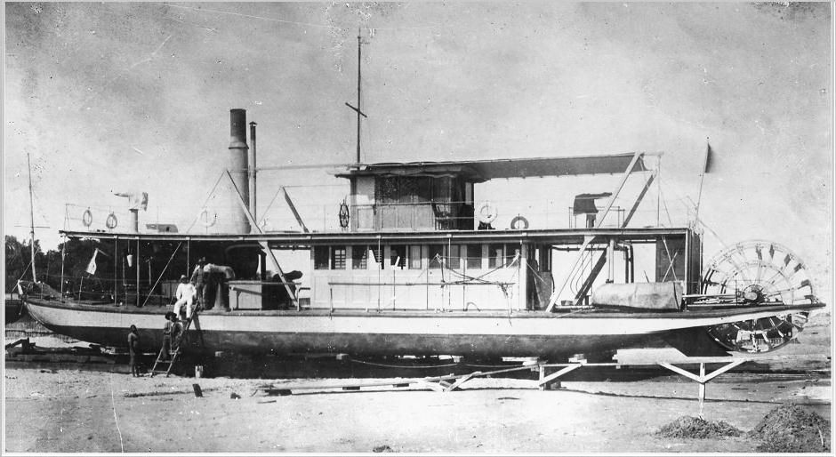 """small African sternwheel steamboat named SERPA PINTO after a Portuguese explorer and colonial administrator of southern Africa. The gentleman's full name was Alexandre Alberto da Rocha de Serpa Pinto, Viscount of Serpa Pinto (""""Serpa Pinto"""" for short who was born in April of 1846, embarked on his African adventures during the 1860's and died in Portugal in December, 1900."""