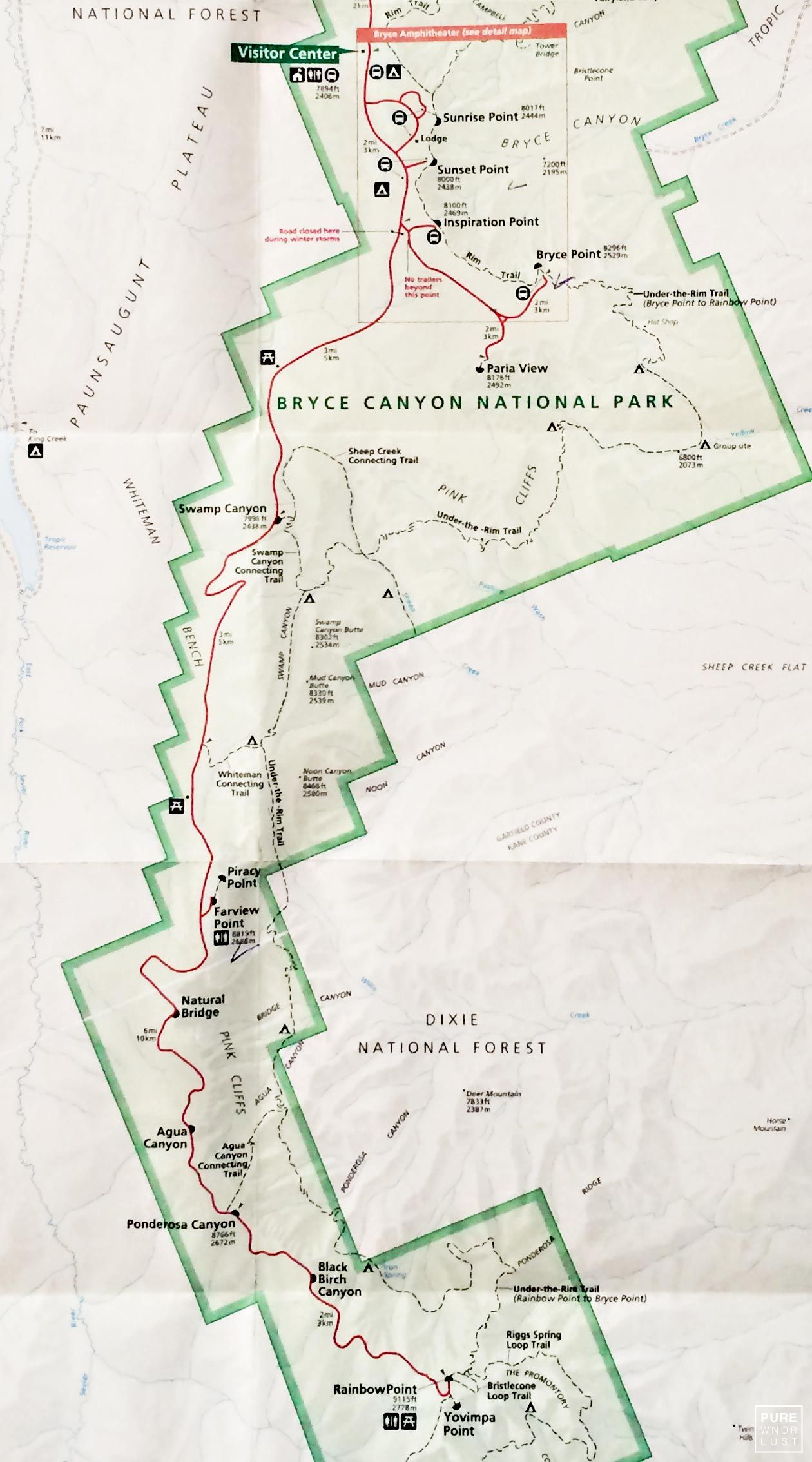 Map of the Bryce Canyon - National Park Service U.S. Department of ...