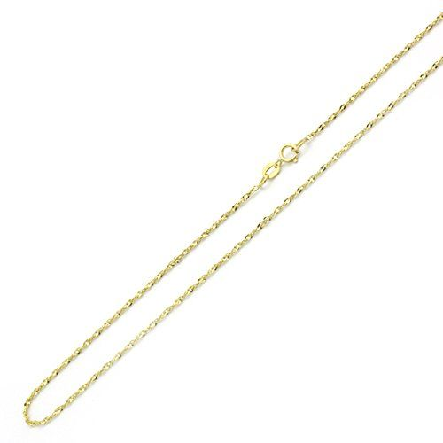 14k Yellow Gold Chain 1mm Singapore Chain Necklace 16 18 20 22 24 Inches 22 You Can Get More Details By Clicking Yellow Gold Chain Necklace Chain Necklace