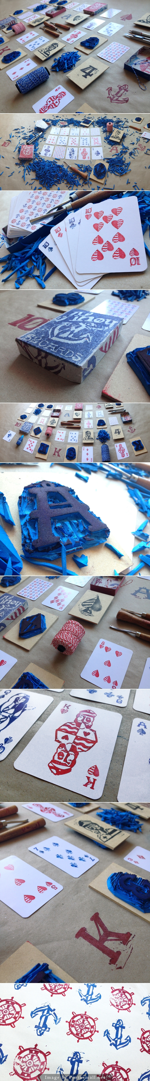 A nautical themed deck of poker-cards, made with handcrafted stamps