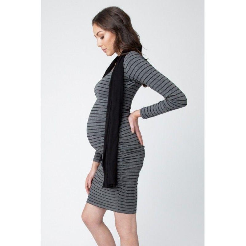Vêtement Maternité   Robe maternité manches longues Cocoon rayée - Rayé  Charcoal 4f6cd81b204f