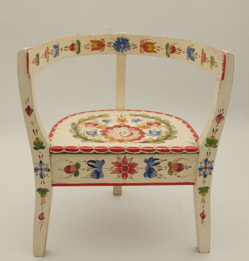 Folk Art Chair Norwegian Os Rosemaling Stol