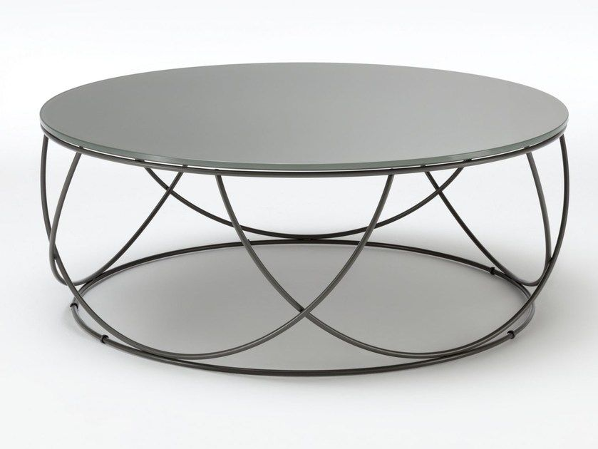 Rolf Benz Design Salontafel.Low Round Glass And Steel Coffee Table Rolf Benz 8770 Low Coffee