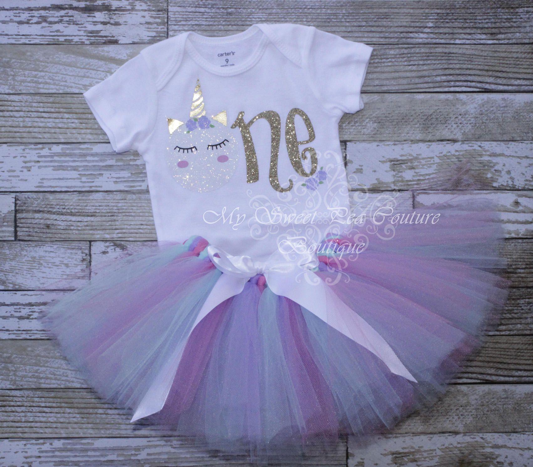 Unicorn First Birthday Tutu Outfit- Cake Smash Outfit- 1st Birthday ...