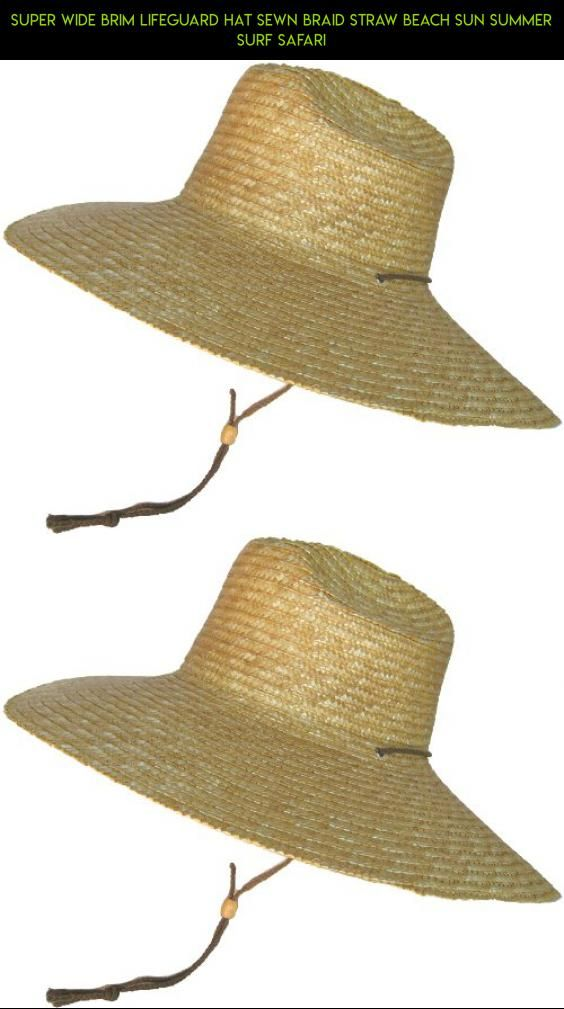 Super Wide Brim Lifeguard Hat Sewn Braid Straw Beach Sun Summer Surf Safari   hat   fb9d4028d50