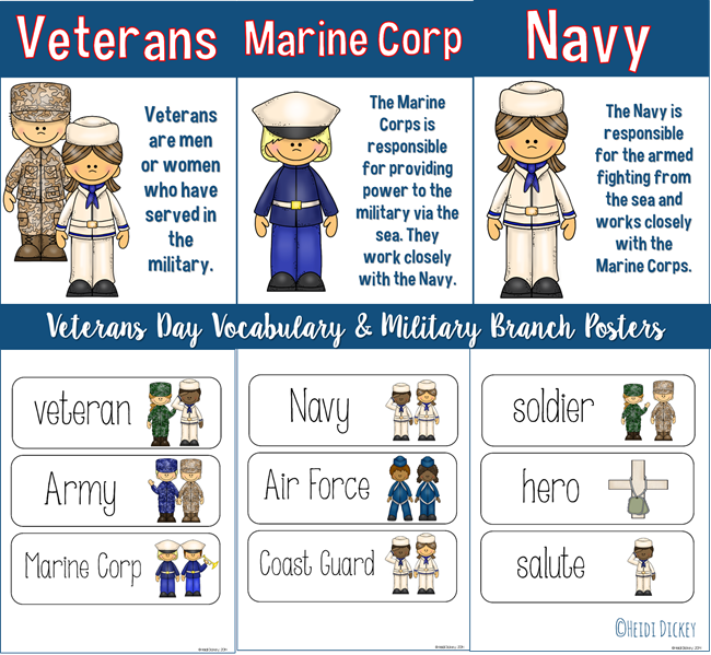 Veteransdayvocabularybranchposters Veterans Day Activities Military Poster Thematic Units