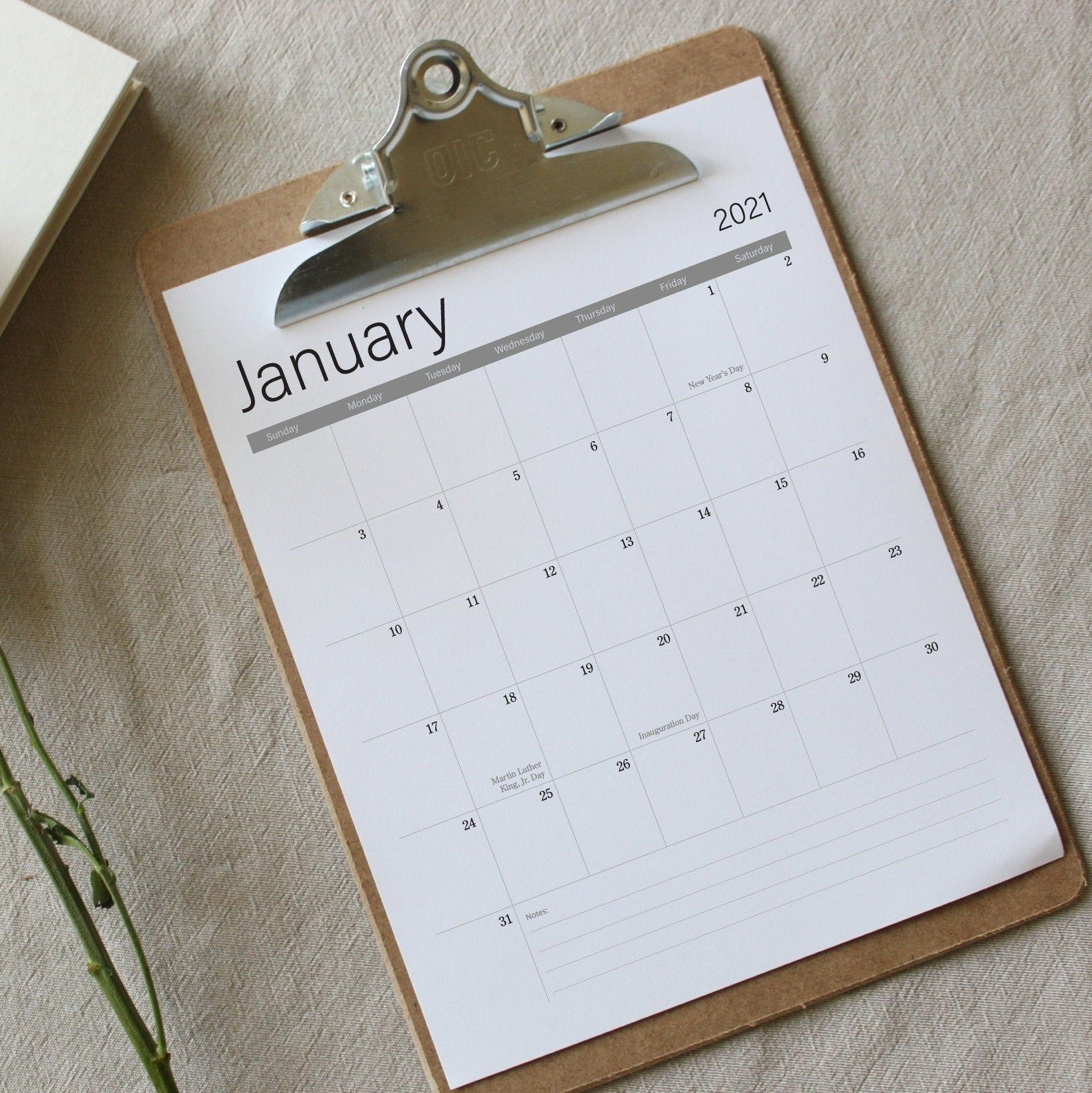2021 Calendar Printable minimalist calendar 8.5 x 11 in ...