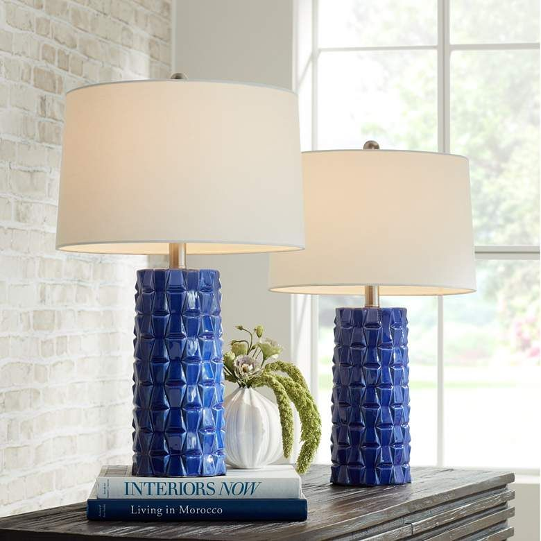 Rico Blue Ceramic Column Table Lamps Set Of 2 74p52 Lamps Plus In 2020