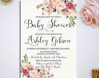 Printable Vintage Pink Watercolor Floral Baby Shower Invitation