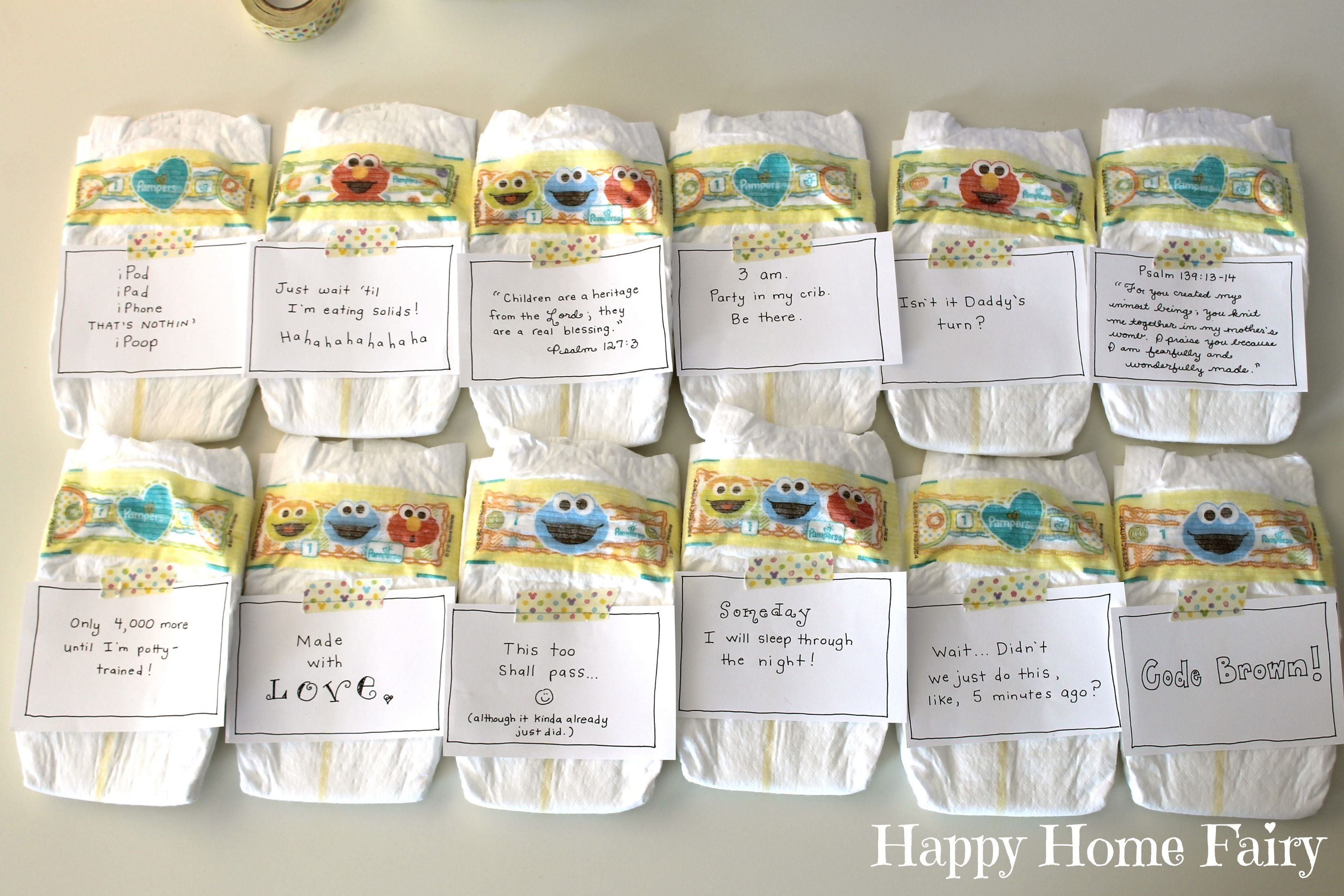 Midnight Messages For New Mommies Free Printable Happy Home Fairy Diaper Messages Baby Shower Messages Happy Home Fairy