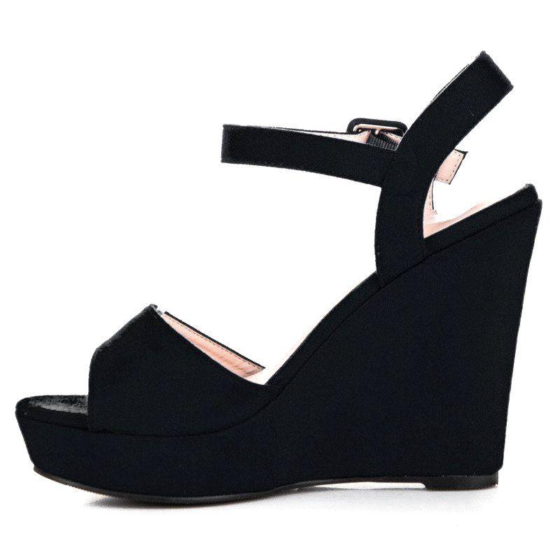 Primavera Zamszowe Sandaly Na Koturnie Czarne Shoes Wedges Fashion