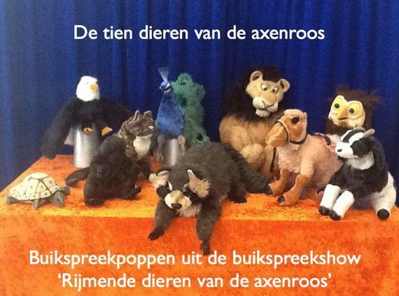 Buikspreekpoppen uit de buikspreekshow 'Rijmende dieren van de axenroos' van buikspreker en basisschool goochelaar Aarnoud Agricola uit Utrecht. Leeuw, kameel, bever, poes, pauw, wasbeer, havik, bok, uil en schildpad poppen.