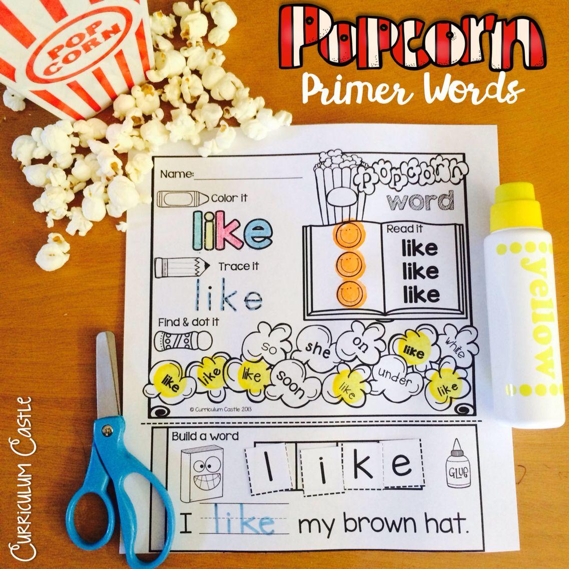 Kindergarten Primer Sight Words Popcorn Word Printables