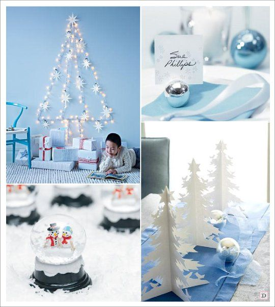 Decoration noel blanc bleu sapin mural porte nom boule for Porte nom de table noel
