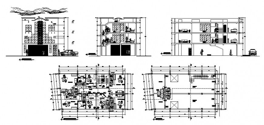Multi Flooring Commercial Complex Building Elevation Section And Floor Plan Details Dwg File Commercial Complex Floor Plans Building Elevation
