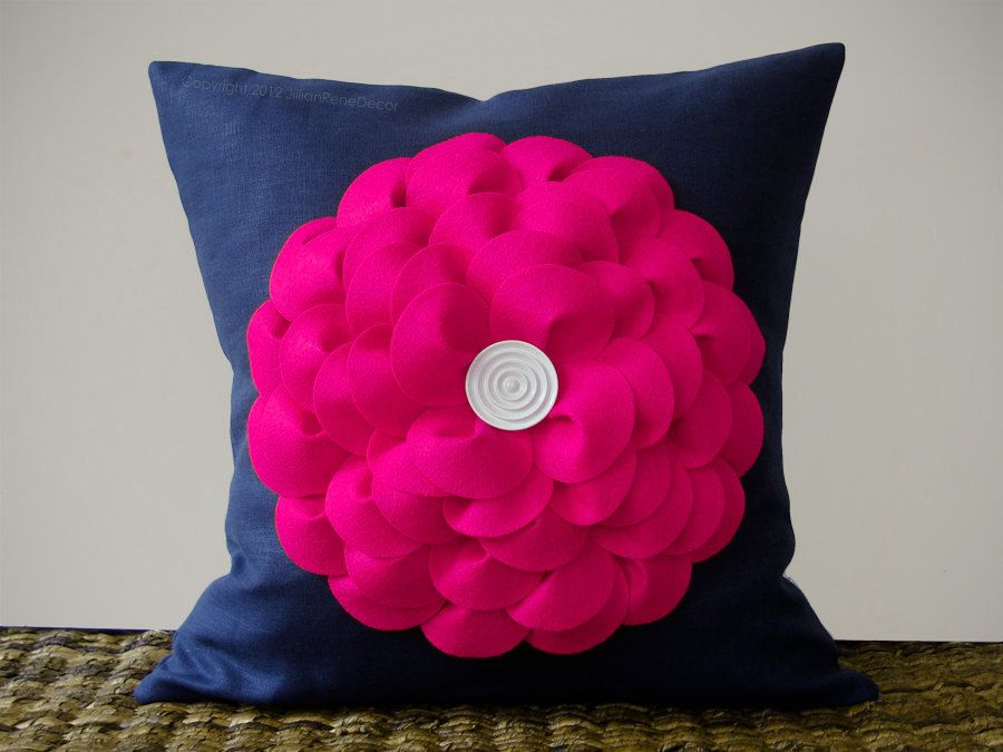 Navy And Pink Decorative Pillows: Hot Pink Flower Pillow Cushion In Navy Linen With White