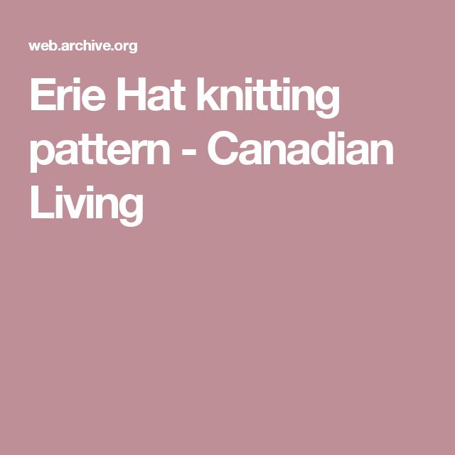 1dc266d8bd3 Erie Hat knitting pattern - Canadian Living Knitting Patterns Free