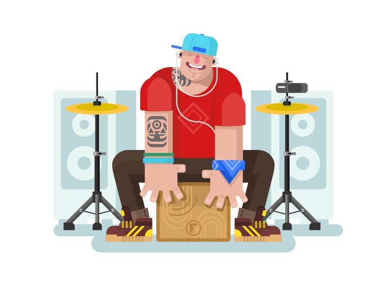 Dribbble - Drummer play on cajon by Anton Frizler (Kit8)
