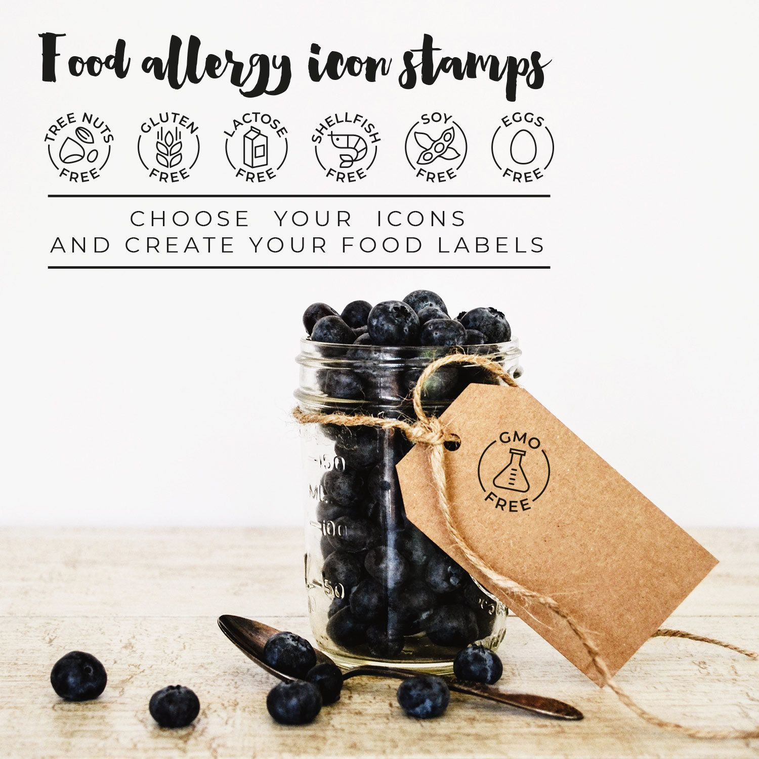 Food allergy stamps, food allergy labels, food allergy