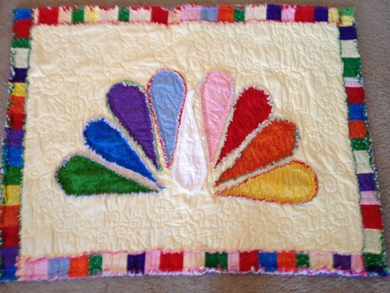 Rainbow Peacock Baby Rag Quilt by MalnJam on Etsy | Baby ...