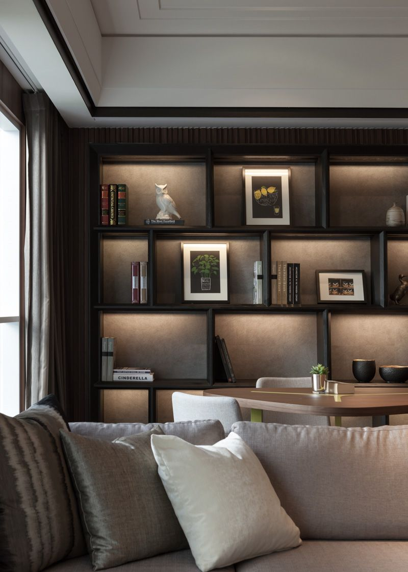 Miemasu dark wood home decor minimalist furniture - Wall shelf ideas for living room ...