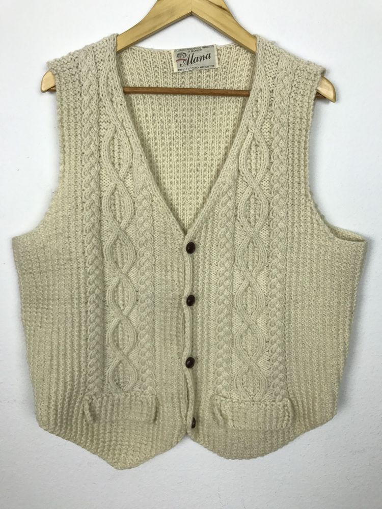 Vintage 1960s Sweater Vest Hand Knitted Ireland Cable Knit Cream M L Alana Sweater Vest Cable Knit Knitted
