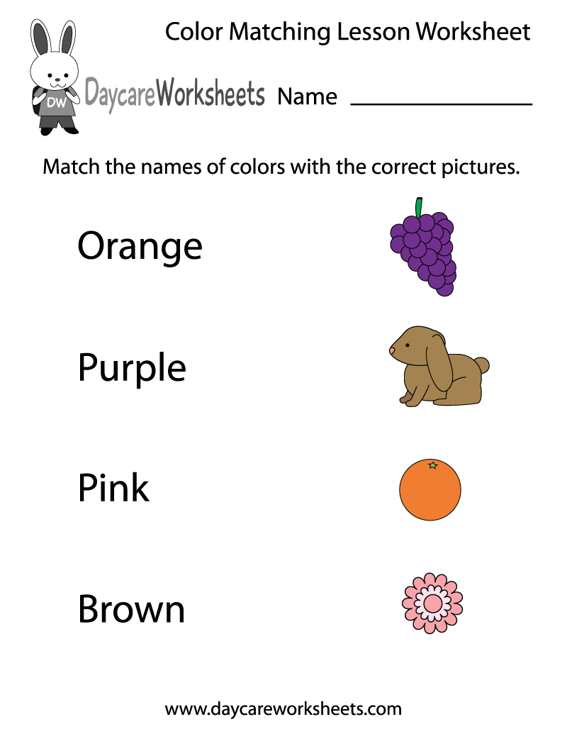 Printable color matching games for preschoolers - Preschoolers Have To Match The Names Of Colors With The Correct Pictures In This Free Printable