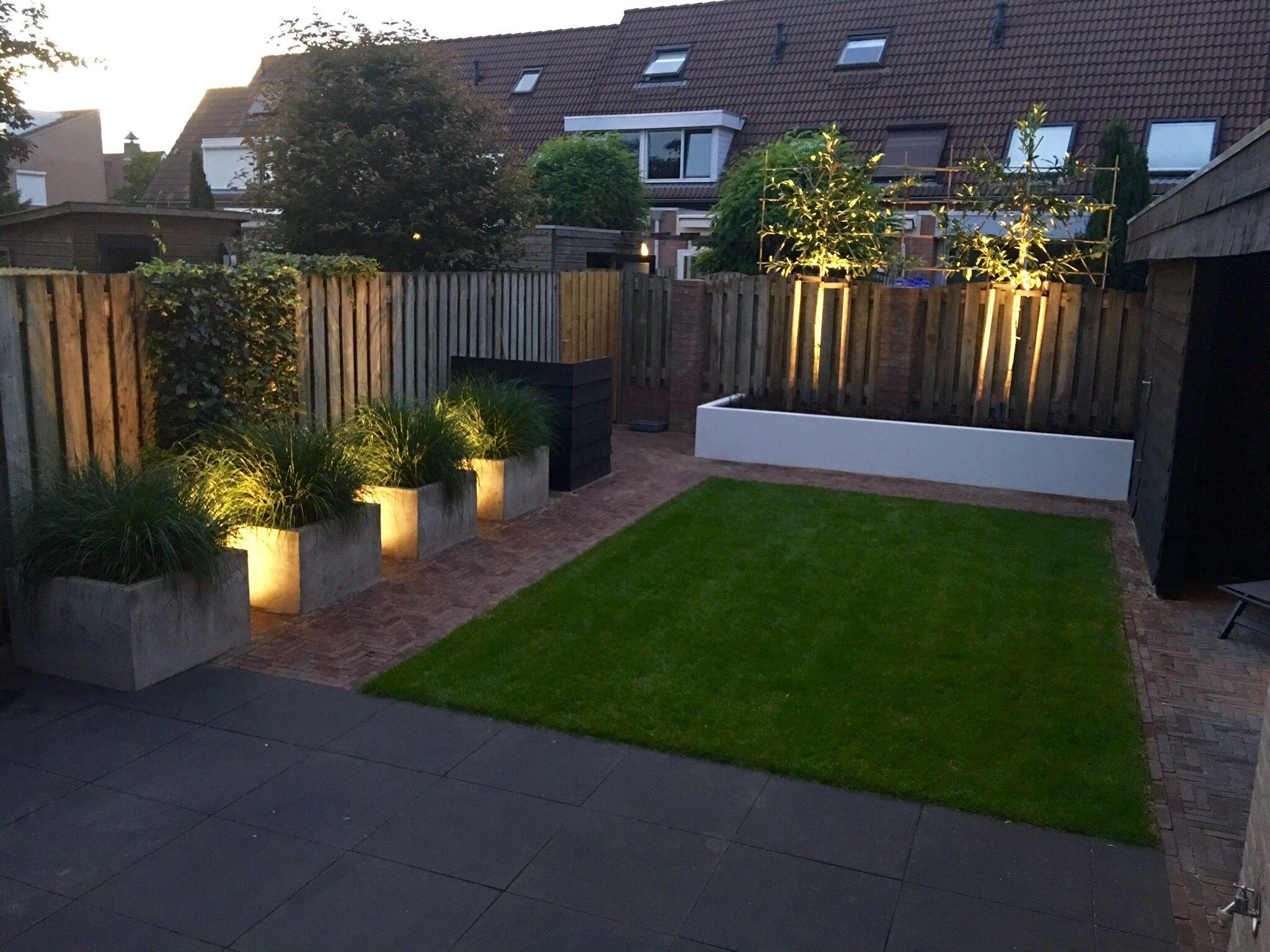 strakke tuin met betonnen bakken en witte border garden