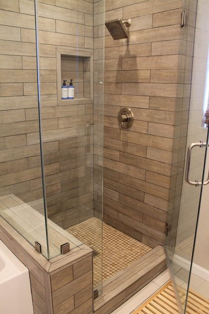 Faux Wood Tile In Modern Shower Contemporary Bathroom Los Angeles Madison Home