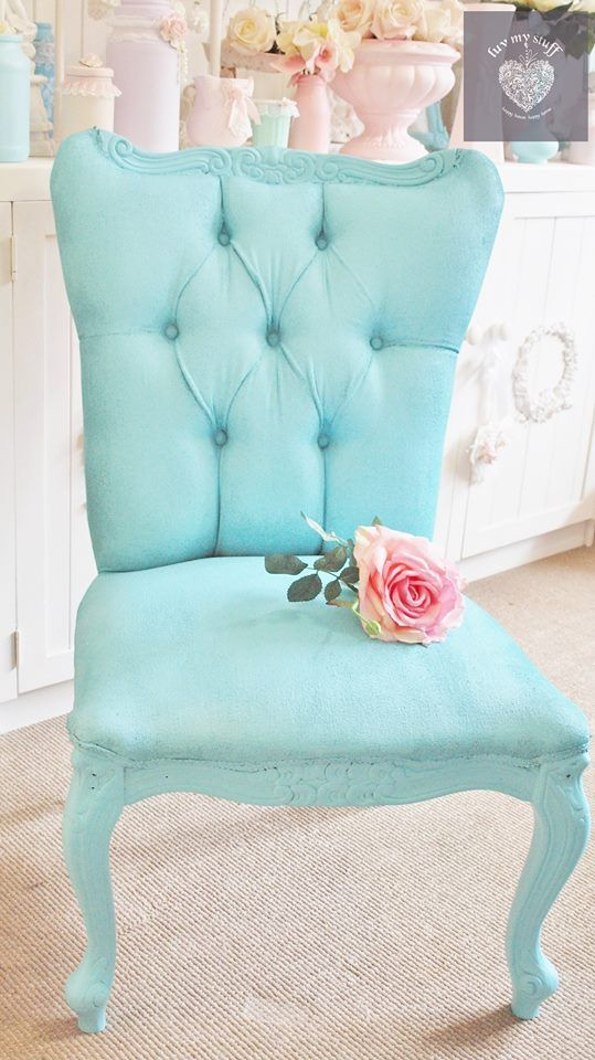 Shabby Chic Sugar Paint pastel coloured painted chair in