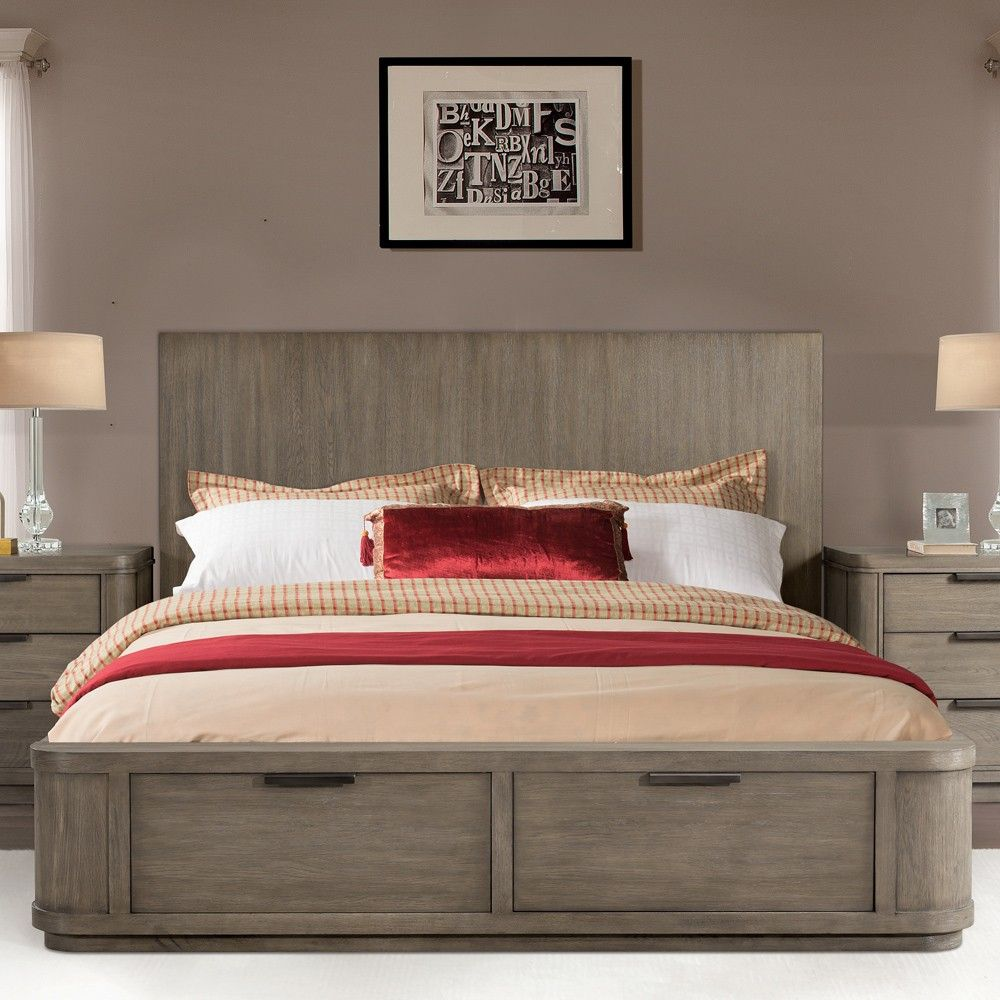 Precision Wood Low Profile Storage Bed Image Shown In Gray Wash