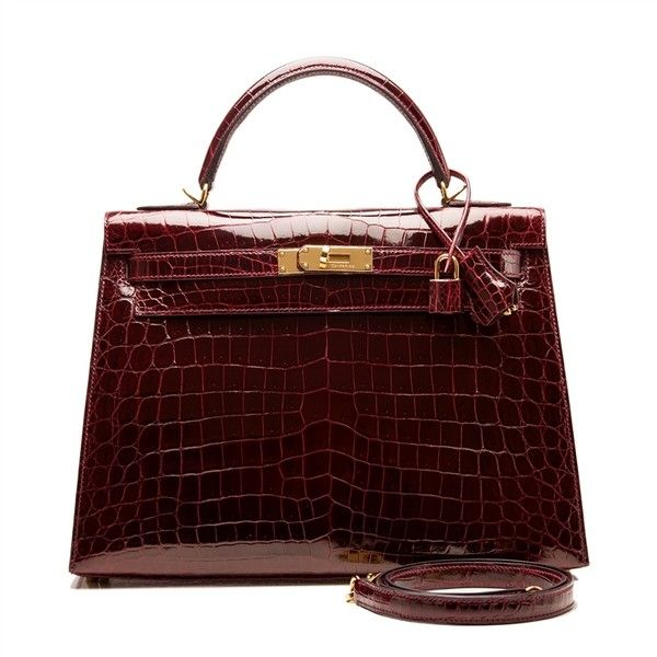 c457ad21cb50 Hermes Bordeaux Shiny Niloticus Crocodile Kelly Sellier 32cm ...