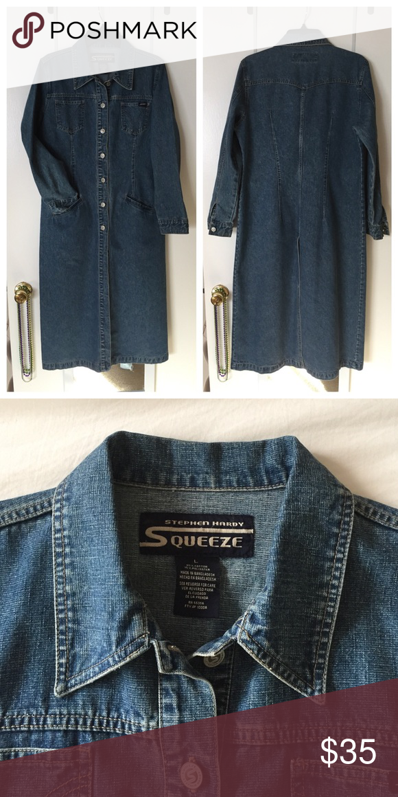 Stephen Hardy Squeeze Vintage Long Denim Jacket. Stephen Hardy Squeeze Vintage Long Denim Jean Trench Coat Jacket. In great condition. Stephen Hardy Squeeze Jackets & Coats
