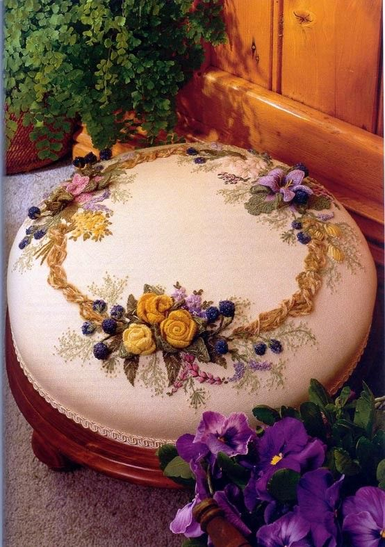 Footstool with silk embroidered cushion by Helan Pearce