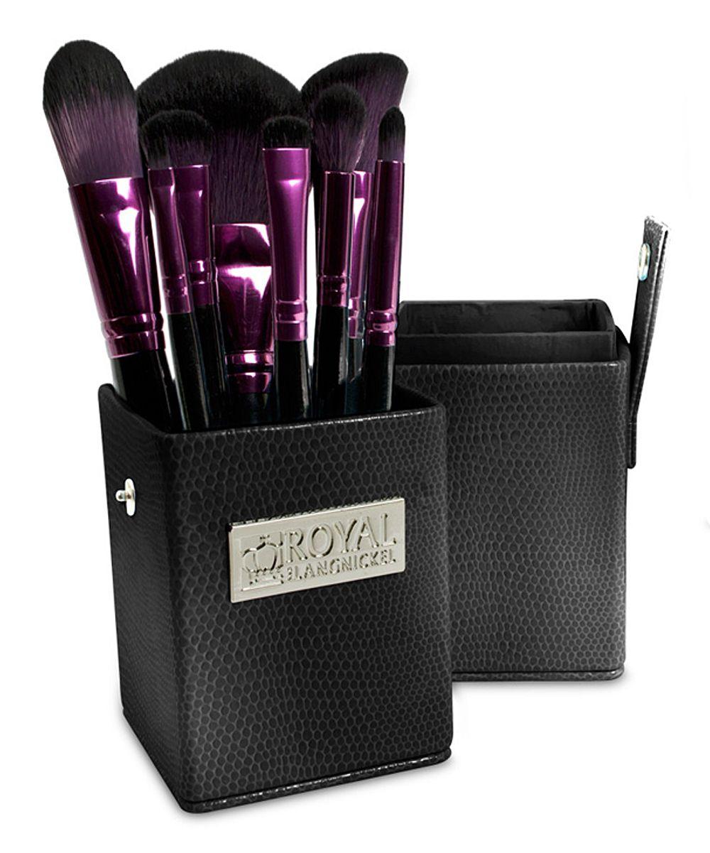 Royal Brush Purple & Black EightPiece Brush Set & Holder