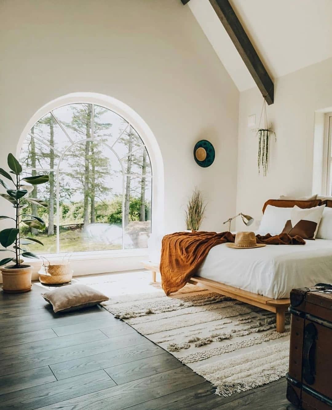 "Crumbs Home on Instagram: ""Does anybody else agree that this might be one of the most beautiful bedrooms in existence?! The archway window, and the scene outside the…"" #onehome"