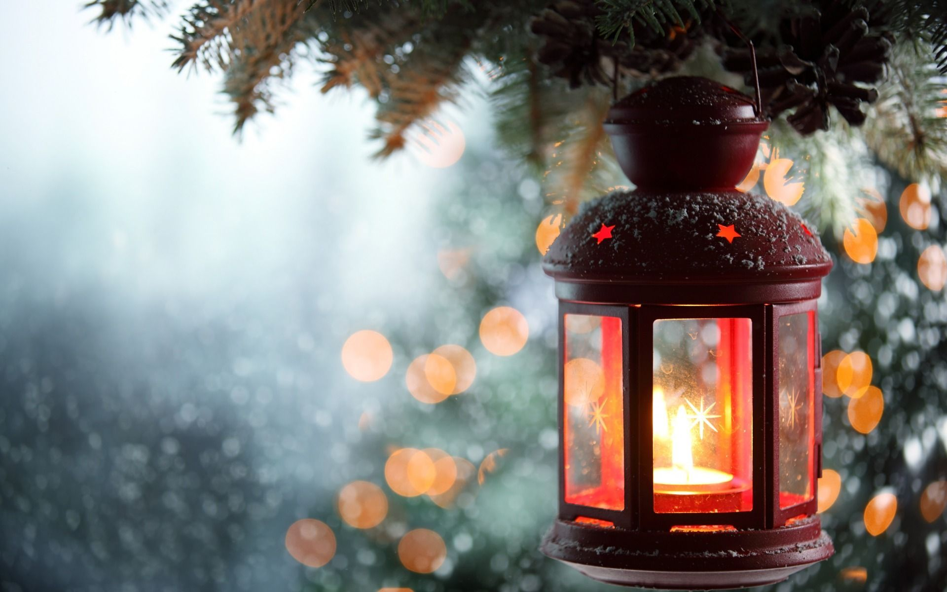 Download Wallpaper Xmas New Year Snow Candle Winter Merry